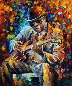 john-lee-hooker-palette-knife-oil-painting-on-canvas-by-leonid-afremov-leonid-afremov.jpg (751×900)