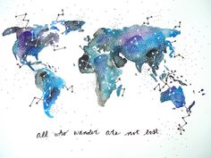 """Watercolor Map """"All who wander are not lost"""" by AQuartzyLife via flickr Do A USA map with these words imprinted."""