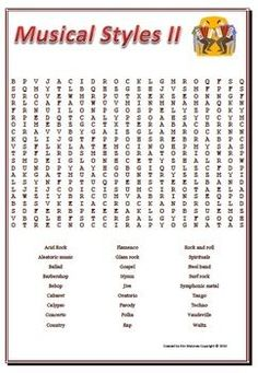 A Word Search of 29 music genres Teacher answer key included FREE download