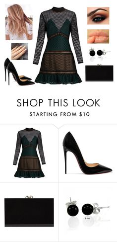 """Sem título #1274"" by gabriel-sampaiooo on Polyvore featuring self-portrait, Christian Louboutin, Charlotte Olympia, NYX e Bling Jewelry"