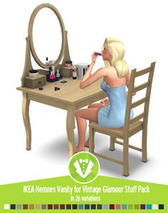 Hemnes Vanity for Vintage Glamour Stuff Pack at Around the Sims 4 • Sims 4 Updates