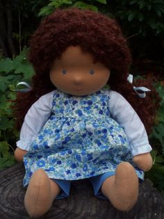 Waldorf Doll 14 Chestnut Hair Tanned Skin by Waldorfdollshop