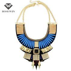 5 colores Boho diseño mujeres Collar collares moda 2016 cadena dorado grano de acrílico declaración gargantillas collares Vintage CE2939