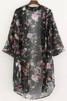This Black floral kimono is perfect for the upcoming fall weather! Fabric Type: Chiffon Please allow 2-3 weeks for shipping and handling.