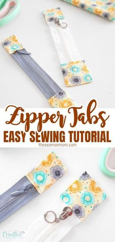 Zipper tabs are a great way of shortening or lengthening zippers and add a personal touch. Today I'm going to show you a super easy zipper tabs tutorial so that you don't need to be looking for the perfect zipper for ages. #easypeasycreativeideas #sewing #sewingtips #sewingtutorials #sewingprojects #sewingforbeginners #beginnersewing