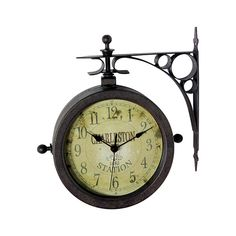 All aboard! This Retro Metro Wall Clock offers a charming relic from the old-time train station. Its old-style dual-faced build makes it twice as useful and exceptionally decorative. Mount it indoors o...  Find the Retro Metro Wall Clock, as seen in the Industrial Chic Collection at http://dotandbo.com/collections/industrial-chic?utm_source=pinterest&utm_medium=organic&db_sku=104787