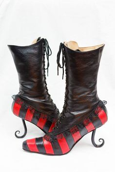 pendragon shoes - victorian striped boots