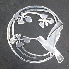 Hummingbird in the Iris Metal Art