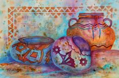 Watercolor of Southwestern Pottery Design by MarthaKislingArt