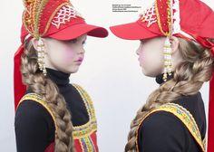 Matryoska inspirational kids shoot featuring Baseball cap: Team Southwest.Traditional Russian headdresses and dresses: Rusclothing.com.Viscose roll necks: DKNY.
