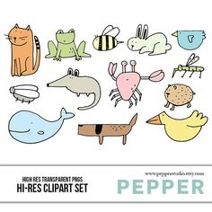Animal Doodles Illustrated Clipart Scrapbooking by PepperStudio