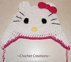 Crochet Creative Creations- Free Patterns and Instructions: Crochet Hello Kitty Ear flap Child hat up to adult women!
