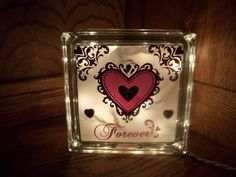 Items similar to Valentine's Day Lighted Glass Block on Etsy Painted Glass Blocks, Decorative Glass Blocks, Lighted Glass Blocks, Valentine Day Crafts, Valentine Decorations, Valentine Ideas, Glass Block Crafts, Glass Craft, Wood Craft Patterns