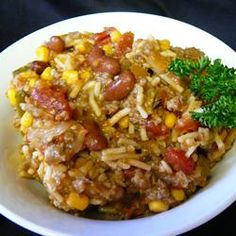 Mexican Venison Skillet Allrecipes.com... Pretty good. Needs salt and pepper.
