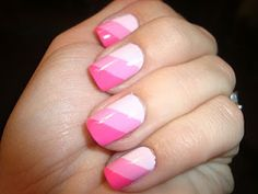 Striped Pink Nails