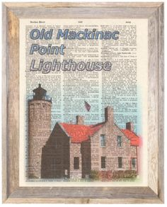 Old-Mackinac-Point-Mich-Lighthouse-Altered-Art-Print-Upcycled-Vintage-Dictionary