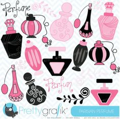 Parisian Perfume Clipart | Decorate your favorite scrapbooking, cards, and creations with 16 sweet decorative perfume bottles and cliparts.