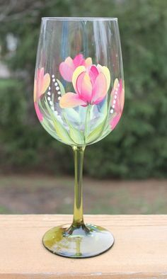 Hand Painted Wine Glasses Set of 2 by SilkEleganceFlorals on Etsy
