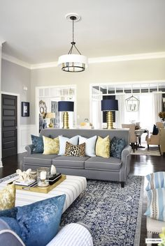 Fall Home Tour with navy and gold velvet pillows and accents. Fall Home Tour with navy and gold velvet pillows and accents. Blue Couch Living Room, Home Living Room, Farm House Living Room, Blue Living Room, Blue And Gold Living Room, Apartment Decor, Gold Living Room, Living Decor, First Apartment Decorating