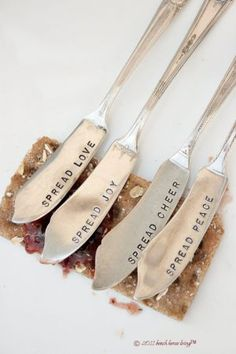 recycled silverware - @Anna Munk Murray this would be a cute gift to make with our metal stamps