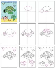 Draw an Easy Sea Turtle · Art Projects for Kids Drawing Lessons, Drawing Projects, Art Lessons, Art Projects, Art Drawings For Kids, Drawing For Kids, Easy Drawings, Art For Kids, Arte Elemental
