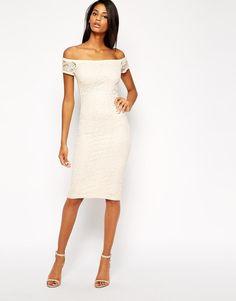 ASOS   ASOS True Lace Bardot Midi Body-Conscious Dress at ASOS