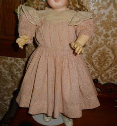Charming antique pink or red calico print doll dress