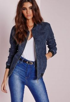 Denim Bomber Jacket Indigo Blue