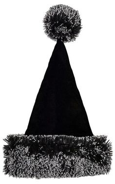63c4e2612 Santa Hat Style - Black Velvet with Silver Tipped Fox Faux Fur in Black