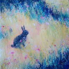 Sue Paton, Black Rabbit, Scilly, acrylic on canvas - Black rabbits can be found around St. Mary's