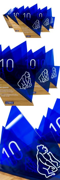We just completed these custom long service awards for Gorilla Capital in Oregon, USA. These long service awards are recognition for employees that have been working with the company for 10 years. Handcrafted from caramel bamboo and semi-transparent blue acrylic, these custom awards are modern and dynamic.