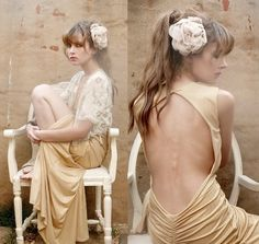 """Golden Valentine"" by Nadja S Vintage Girls, Vintage Dresses, Nice Dresses, Engagement Outfits, Gowns Of Elegance, Wedding Gowns, Girl Fashion, Fashion Photography, Backless"