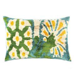 Flower Silk Velvet Pillow Green, $135, now featured on Fab.