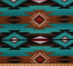 Raindance Teal Brown Southwest Fleece Fabric Print by The Yard
