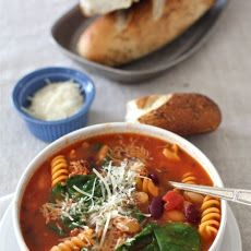 Sausage, Bean & Pasta Soup with Spinach Recipe