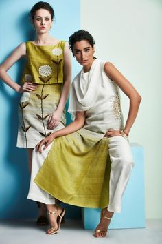 Green ombre shift dress (L) Green ombre cowl kurta with pants (R)