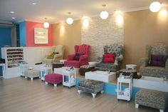 salons with elevated areas | OK - lovet his idea.. elevated area with matching ottmans that stylist ...