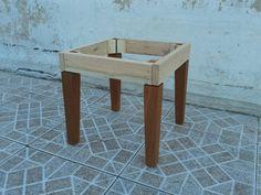 Esqueleto estructura puff en madera para tapizar sill n for Banquetas de madera