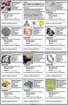 A performance indicator (test/quiz/worksheet) covering Physical Properties density in particular of Metals Nonmetals and Metalloids and their placement in the Periodic Table of Elements. Chemistry Classroom, High School Chemistry, Chemistry Lessons, Teaching Chemistry, Science Chemistry, Middle School Science, Physical Science, Science Education, Science Activities