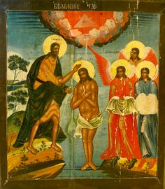 """Today is the festivity: Theophany - Baptism of Christ When the thirtieth year of Jesus' life in the world had dawned and the time had come when He should show himself to people, when, as the Gospel says, """"the word of God to John, son of Zacharias"""" was pronounced in the wilderness. The Lord told him to baptise the people in the Jordan and gave him a sign by which he should know Christ, who had come into the world A monumental and very beautiful old icon. Unrestored. www.ikonen-mautner.com Baptism Of Christ, Russian Icons, Jesus Lives, Word Of God, Vienna, Wilderness, Austria, Lord, Sign"""