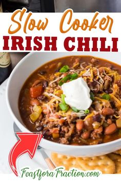 Irish Chili combines the smoky flavor of traditional chili with dark Irish beer to give it a heft that deepens the flavor. You'll definitely want to add this recipe for Slow Cooker Irish Chili to your monthly meal plan. When we're in the thick of winter, there is nothing more satisfying and soul-warming than a big bowl of chili! Give me the option to cook it in the slow cooker and you're got a dish after my own heart. | Feast for A Fraction @feastforafraction #slowcookerchili…