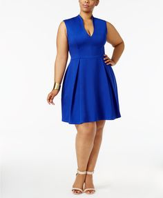Soprano Trendy Plus Size Pleated Fit & Flare Dress   macys.com