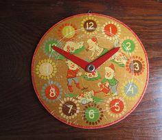 Cute Vintage Wooden Children's Toy Clock Painted by TeaCupCakeNL, €7.50