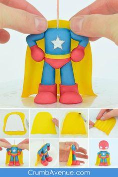 La Sirena Pryntyl: free tutorial - C++ Learn Cake Topper Tutorial, Fondant Tutorial, Superman, Superhero Cake Toppers, You Are My Superhero, Fondant Cake Toppers, Cupcake Cakes, Fondant Olaf, Crazy Cakes