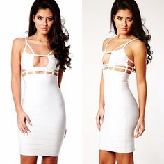 House of CB Christian White Cut Out Bandage Dress Brand new, never worn. Celebrity Boutique white cutout bandage dress. The peek-a-boo cut spices up a classic LWD. Wear with statement heels for a celebrity worthy look. Made from House of CB's signature bandage fabric that holds you in and smooths you out. Celebrity Boutique Dresses Mini