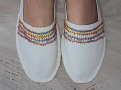 SOLD. Espadrilles Colorful Hand Embroidery on by JaneCohenArtfulBags, $79.99