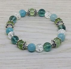 ~ Bracelets by Karen ~ Aquamarine, Quartz, Fluorite and Prehnite with Silver Spacers