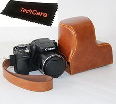 TechCare Ever Ready Protective Camera Leather Case Cover for Canon PowerShot SX500 ISCanon PowerShot SX510 HS Brown -- Find out more about the great product at the image link. (Note:Amazon affiliate link)