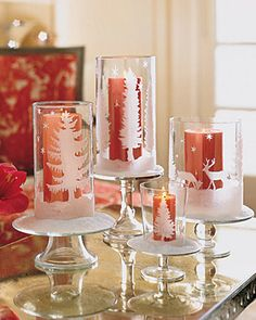DIY Etched glass pillars