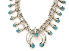 Genuine Turquoise Flower Squash Blossom Naja Bib Necklace Signed Navajo Sterling Lester Ortiz - pinned by pin4etsy.com